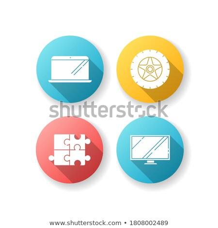 tv set icon on red puzzle stock photo © tashatuvango