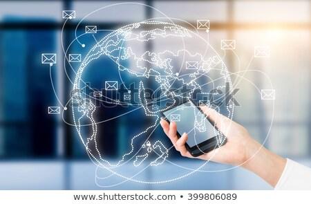 Iletişim dünya e-mail mesajlaşma vektör teknoloji Stok fotoğraf © burakowski