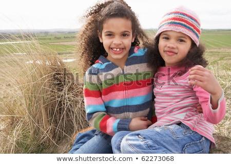 lányok · ül · tengerpart · kettő · legjobb · barátok · tengerpart - stock fotó © monkey_business