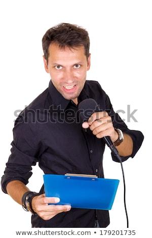 jóképű · férfi · újságíró · hírek · mikrofon · jegyzetek - stock fotó © feelphotoart