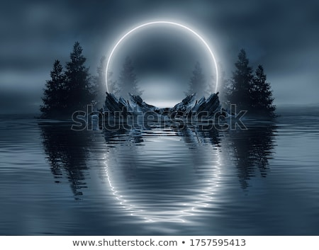 Luar reflexões lua cheia névoa silhueta Foto stock © kimmit