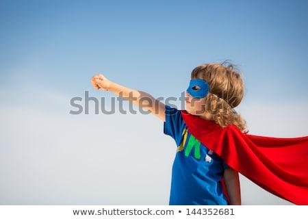 súper · nina · ilustración · volar · cielo - foto stock © kakigori