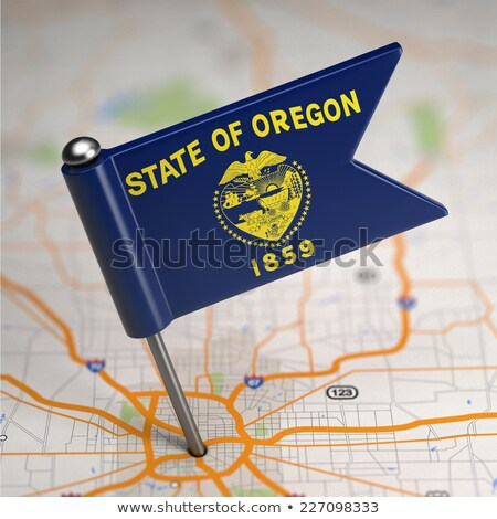 Oregon Small Flag on a Map Background. Stock photo © tashatuvango