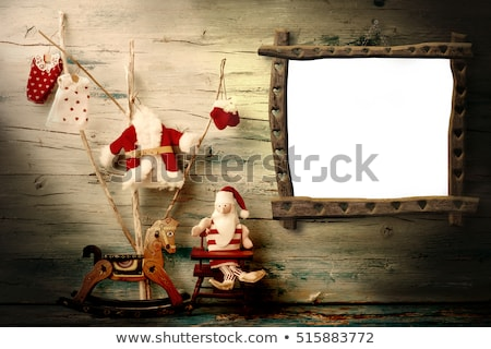 Christmas, photo frame hanging on an old wooden wall Stock photo © marimorena