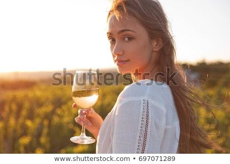 beautiful young brunette woman holding a glass of white wine stock photo © artush