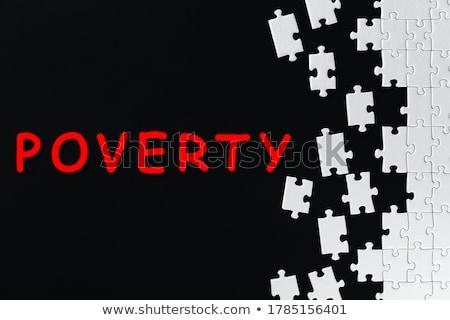 Szegénység fehér szó piros 3d render puzzle Stock fotó © tashatuvango