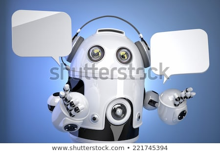3d robot with chat bubbles. Isolated, contains clipping path Stock photo © Kirill_M