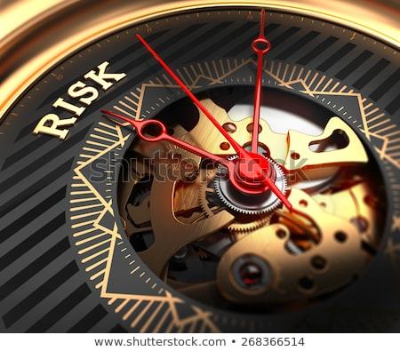 Stock photo: Risk Management on Black-Golden Watch Face.