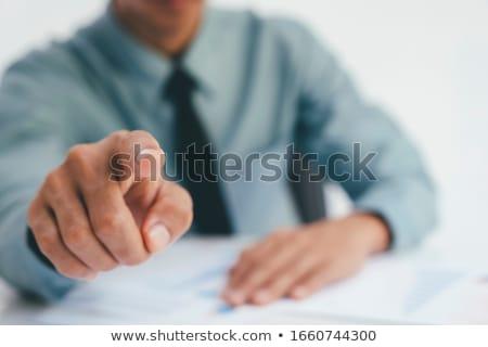 выбранный счастливым деловая женщина указывая пальца бизнеса Сток-фото © stockyimages