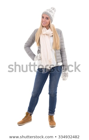 Pretty girl in warm clothes isolated on white Stock photo © Elnur