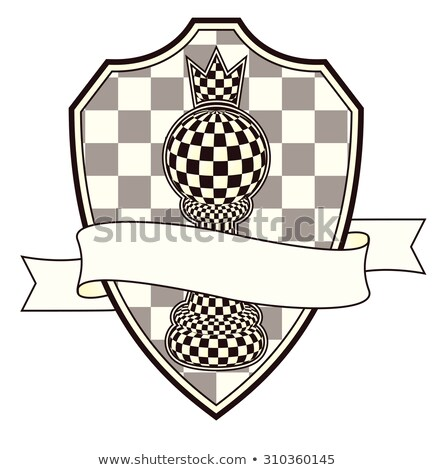 chess heraldic crest with pawn and crown vector illustration stock photo © carodi
