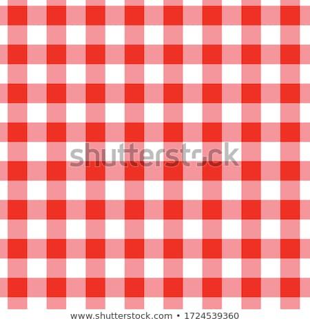 czerwony · biały · obrus · koc · piknikowy · szczegół - zdjęcia stock © feverpitch