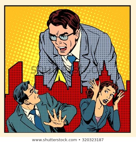 Patrão raiva trabalhar escritório negócio estilo retro Foto stock © studiostoks