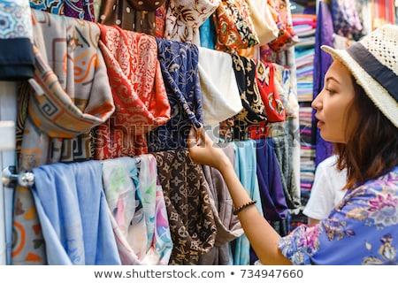 Textiel doek markt weefsel Stockfoto © jordanrusev