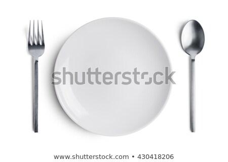 rojo · seta · venenosa · plato · aislado · cuchillo · tenedor - foto stock © tetkoren