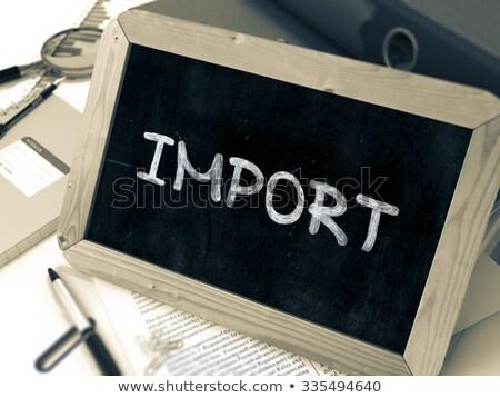 Import kézzel írott fehér kréta iskolatábla kicsi Stock fotó © tashatuvango