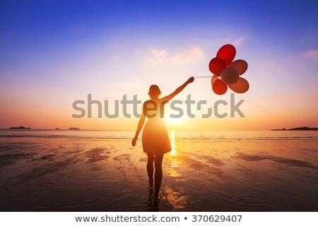 Lány léggömb naplemente illusztráció játékok Stock fotó © adrenalina