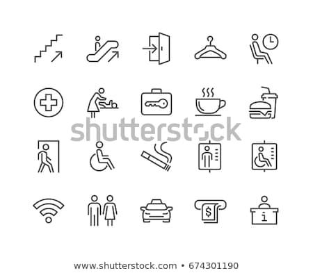 wireless · router · sottile · line · icona · web - foto d'archivio © rastudio
