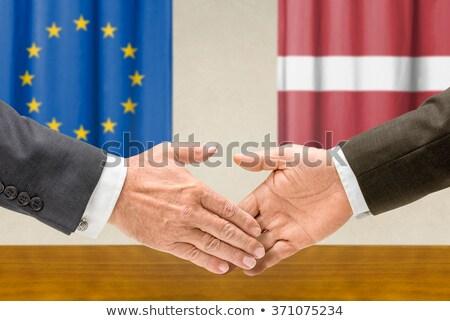 Eu ラトビア 握手 手 手 会議 ストックフォト © Zerbor