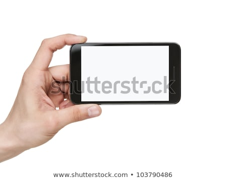 businessman holding smart phone with blank screen stock photo © andreypopov
