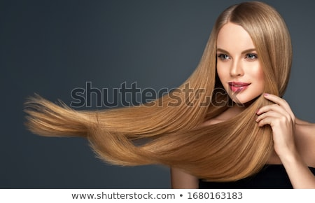 Mujer hermosa largo recto rubio pelo moda Foto stock © dashapetrenko