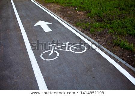白 マーク 自転車 レーン 通り 道路 ストックフォト © meinzahn
