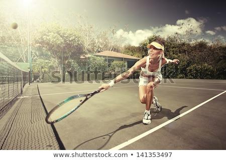 Stock fotó: Portré · gyönyörű · nő · játszik · tenisz · néz · kamera