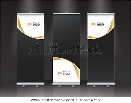 Gold And Black Roll Up Banner Template Vector Illustration