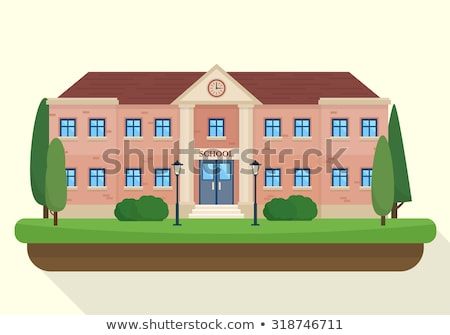 Flat style kids graduation and school building stock photo © vectorikart