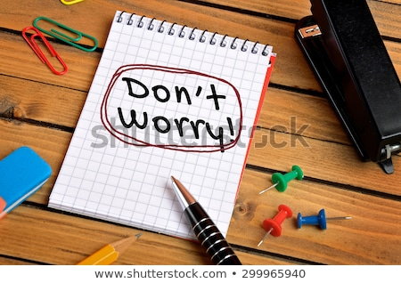 dont panic word and office tools on wooden table stock photo © fuzzbones0