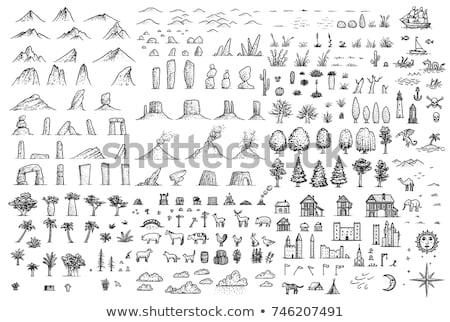 çiftlik · ahır · kroki · ikon · vektör - stok fotoğraf © rastudio