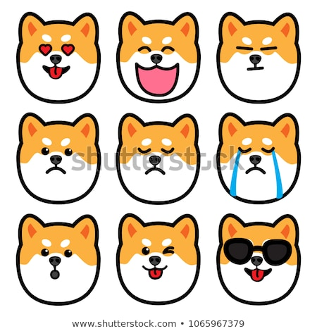 laughing cartooned face of a shiba inu dog stock photo © adrian_n