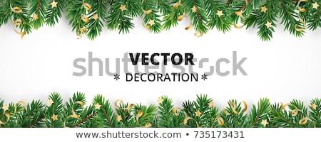 Festive Christmas border in gold, green and white Stock photo © ozgur