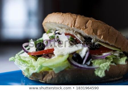 вкусный · Burger · свежие · деревенский · деревянный · стол - Сток-фото © faustalavagna