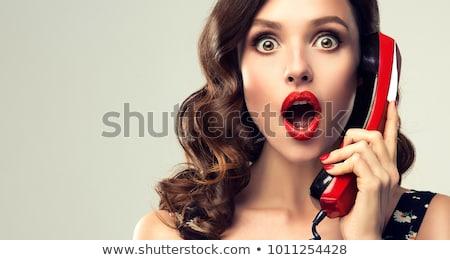 ストックフォト: 少女 · ヴィンテージ · 電話 · 美しい · ファッション · 若い女性