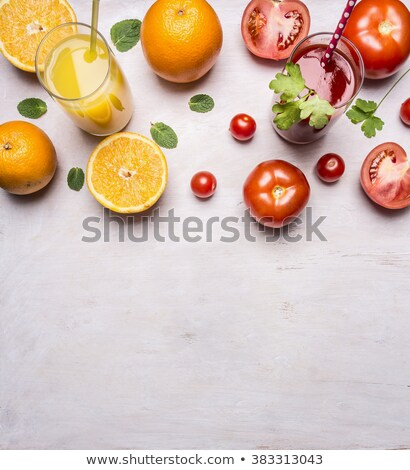 Border with glasses of red fruit juice Stock photo © tish1