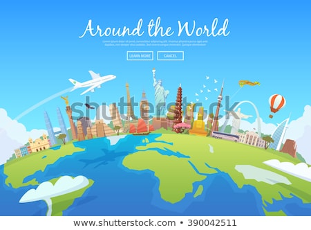 World travel with airplane and world Stock photo © bluering