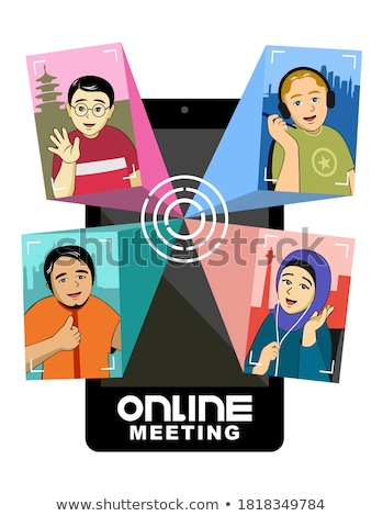 Safety Online Meeting Icon. Flat Design. Stock photo © WaD