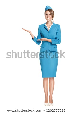 Cheerful stewardess with model of airplane. Stock photo © RAStudio