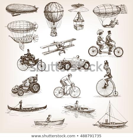 vintage tandem bicycle isolated on white background vector illu stock photo © nikodzhi