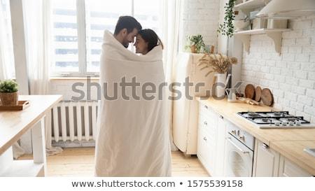 Fiatal pér kockás szeretet áll átölel nő Stock fotó © tekso