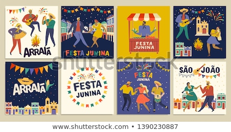 Foto stock: Festa Junina Celebration Poster Design Template With Fireworks