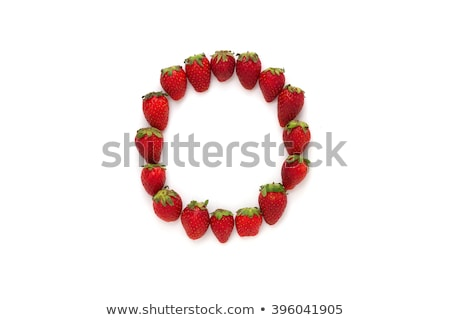 Letter O Strawberry font. Red Berry lettering alphabet. Fruits A Stock photo © popaukropa