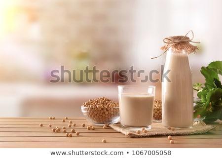 Szójatej étel reggeli egészséges bab házi készítésű Stock fotó © M-studio