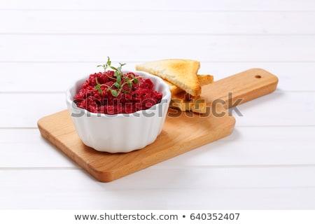 Vers bieten toast kom witte houten Stockfoto © Digifoodstock