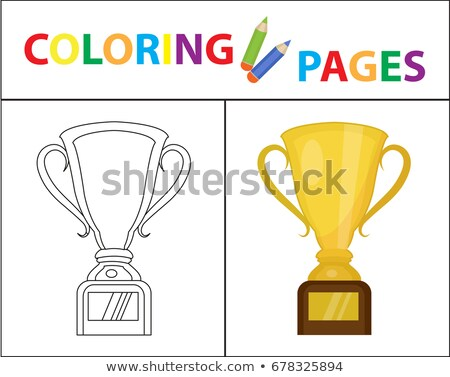 Coloring book page. Gold Cup winner, prize. Sketch outline and color version. Coloring for kids. Chi Stock photo © lucia_fox