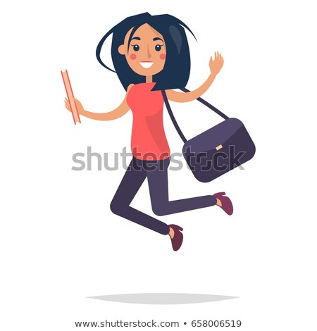 Young Bouncing Girl Student Holding Book with Bag Stock photo © robuart