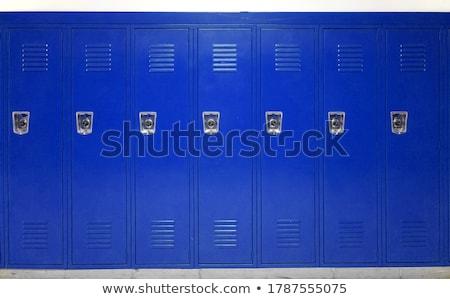 azul · escolas · mochila · artigos · de · papelaria · isolado · branco - foto stock © 2design