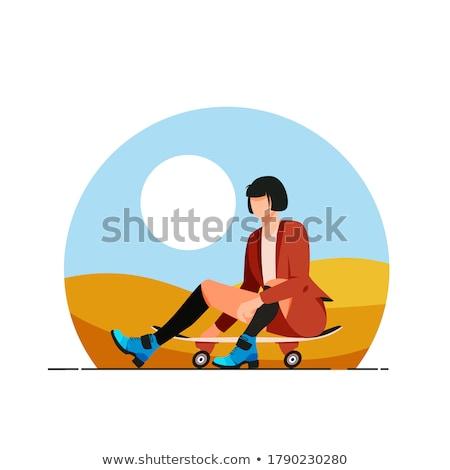 Lány gördeszkás ül gördeszka terv fiatal Stock fotó © jossdiim