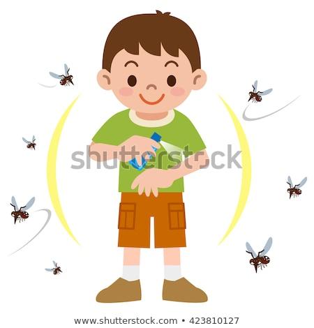 Criança menino inseto spray ilustração pequeno Foto stock © lenm